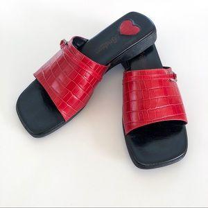 Brighton Red Slip On Sandal